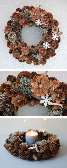 Natural wreaths are so pretty. I will  definitely put a natural wreath on my front door this Christmas. #wreath #natural #naturalwreath #centerpiece #christmasdecor #pinecones #commissionlink