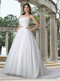 A-line One Shoulder Ruched Bodice Beaded Applique Satin Sash Tulle Wedding Dress-wa0105, $257.95