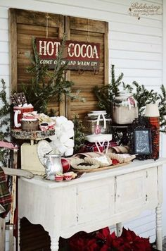 Hot chocolate bar for winter wedding or winter fiesta / more ideas on with . Bar à chocolat chaud pour mariage d'hiver ou fiesta hiver / + d'idées sur with… Hot chocolate bar for winter wedding or winter fiesta / more ideas on withalovelikethat. Rustic Christmas, Winter Christmas, All Things Christmas, Christmas Holidays, Christmas Decorations, Christmas Porch, Outdoor Christmas, Xmas, Vintage Christmas Wedding