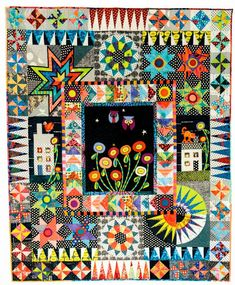 Urban Owls by Wendy Williams I love this quilt! Hand Applique, Machine Applique, Applique Quilts, Wool Applique, Quilt Stitching, Sampler Quilts, Scrappy Quilts, Owl Patterns, Quilt Patterns