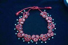 Kette rot/brombeer von barfelt's shop für wolliges auf DaWanda.com