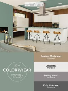 The PPG Voice of Color®, 2016 Paint Color of the Year Paradise Found is featured in this kitchen as a backdrop of nature-inspired color. The space is balanced with natural wood & subtle black matte metals. Create depth in your space by pairing the aloe green hue with mid-tone grays and muted browns.