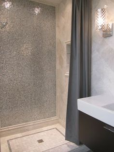 Mixed Silver Glimmer Glass Tile shower wall tile: Found at https://www.subwaytileoutlet.com/