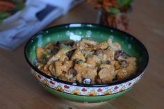 von kuechenereignisse.com  Curry-Huhn-Salat mit Zimt-Möhren