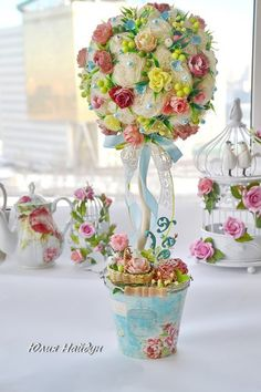 Gallery.ru / Фото #125 - Для вдохновения( и мк с нета) - rmgalina Topiary Centerpieces, Table Decorations, Tall Flowers, Bridal Table, Topiary Trees, Flower Boxes, Ikebana, Flower Arrangements, Glass Vase
