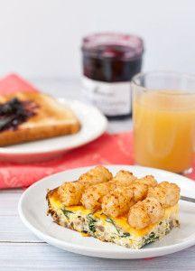 Cheesy Sausage, Spinach, and Tater Tot Casserole | AllFreeCasseroleRecipes.com