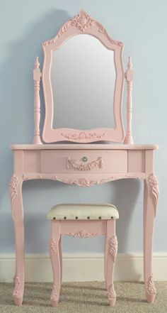 beautiful pink vanity with matching mirror and stool