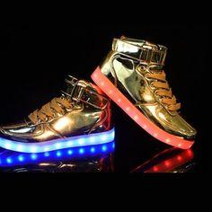 Gouden Lichtgevende Schoenen Dames