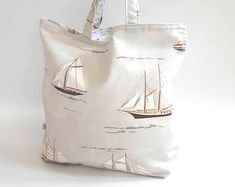 Your place to buy and sell all things handmade Boat Bag, Nautical Theme Decor, Animal Bag, Printed Cushions, Duck Egg Blue, Unique Bags, Gorgeous Fabrics, Stocking Fillers, Market Bag
