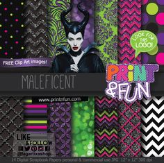Maleficent Malefica Glitter Digital Paper Patterns and FREE Clip art - Digital Papers and more!