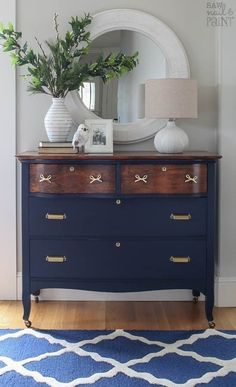 """This dresser received a stunning makeover with GF Coastal Blue Milk Paint, Antique Walnut Gel Stain and High Performance Topcoat by Susan of Saw Nail and Paint.  Susan says, """"I definitely had to go the extra mile to bring this dresser back to life, but I am so happy with the results.""""  Get all the details of this project at check out the before picture at http://www.sawnailandpaint.com/2017/02/20/serpentine-dresser-makeover-navy-brass/"""
