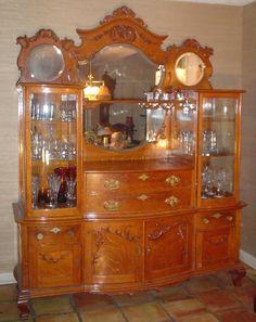 Fancy Large 1890's Antique Oak Crystal  Buffet