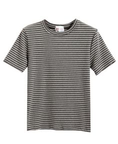 Brushed Cotton Stripe T-Shirt With Short Sleeves