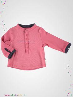 T-shirt  enfant manche longue en interlock de coton bio, à col tunisien, facile à assortir pour un look chic au naturel.