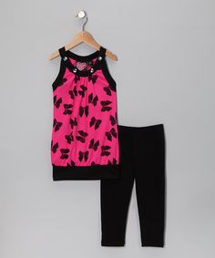 Take a look at this Pink Bow Sleeveless Tunic & Leggings - Toddler & Girls by Spot On: Kids' Apparel on #zulily today!