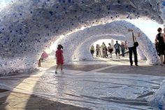 Giant Glowing Sculpture Made From Crushed PET Bottles Rises at the Venice Architecture Bienniale