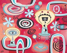 ATOMIC PARTY 01 Retro Mid Century inspired print.  Limited edition (200) print by Cozmo Luna from an original gouache and acrylic painting. Printed on Epson archival matte stock. Printed using a Canon iX6520 pro printer.The print will fit a standard pre-cut matte for easy framing.  Image size is 8 x 10. Standard mat will overlap image slightly.  Each print is titled, numbered, and signed. Shipped securely in a protective sleeve and rigid backing. USPS Priority Mail. No additional shipping on…