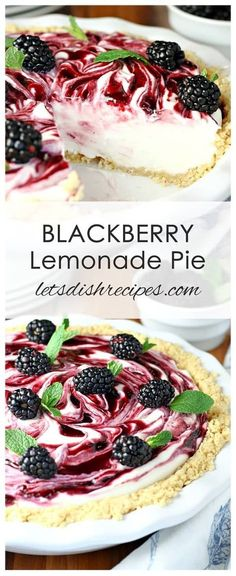 Blackberry Lemonade Pie Recipe: This sweet and tangy swirled pie combines sweetened cream cheese, whipped cream, fresh lemon juice and blackberry preserves in a vanilla cookie crumb crust. # Food and Drink dessert cool whip Blackberry Lemonade Pie Just Desserts, Delicious Desserts, Yummy Food, Lemon Desserts, Blackberry Dessert Recipes, Cinnamon Desserts, Desserts Caramel, Caramel Recipes, Party Desserts