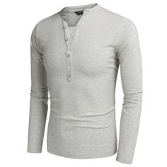 COOFANDY Men Fashion Casual V Neck Long Sleeve Solid Slim Fit Henley Shirts T Shirt Tops