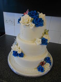 My first wedding cake, Ivory & Royal Blue