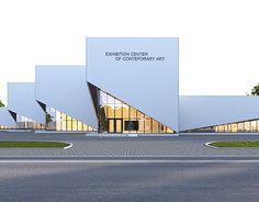 Exhibition Center on Behance Factory Architecture, Facade Architecture, Concept Architecture, Industrial Architecture, Contemporary Architecture, Master Thesis, Church Design, Building Facade, Facade Design