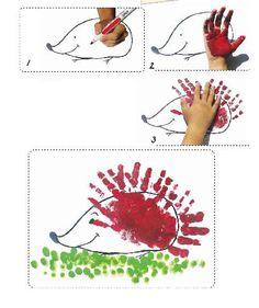 peinture doigts et main : hérisson