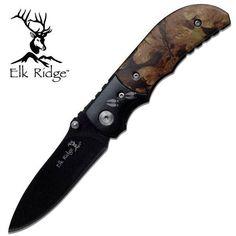 Elk Ridge Woodland Camo Folding Pocket Knife Outdoor Folder camouflage 133
