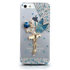 JewelryWe Strass Engel Ballett Mädchen Handy Hülle Schutzhülle Schale Tasche Etui Case Cover für Apple Iphone 5 5S Transparent Blau