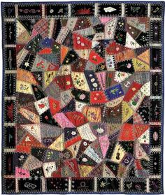 Coverlet made by stitching irregular fabric patches together, either by appliqué or patchwork (piecing). Usually the patches are stitched to a fabric or paper foundation. Crazy Quilt Stitches, Crazy Quilt Blocks, Quilt Block Patterns, Pattern Blocks, Crazy Quilting, American History Museum, African American Museum, Antique Quilts, Vintage Quilts