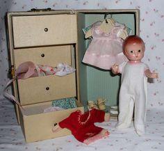 "Simply AMAZING 9"" Patsyette doll by Effanbee -- 1930s -- HUGE Original Wardrobe / Trunk / Extras"