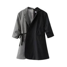 Autumn Coat New Loose Patchwork Half Sleeve Blazer Women Fashion Casual Notched Sashes Blazer