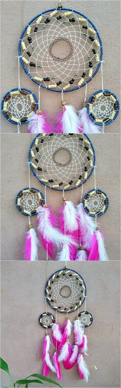 The web of this dreamcatcher is woven with a white string and a few black and off white large beads. The bottom flows made of mini dreamcatchers just like the large one and snow white and blush pink feathers with natural color wooden beads accents. The feathers on this dream catcher look so lovely. They are soft, satiny, with a very nice fluff. The center of the ring is decorated with a small crochet doily.