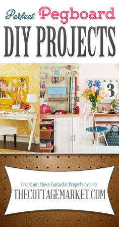 Perfect Pegboard DIY Projects - The Cottage Market #PegboardDIYProjects, #PegBoard, #PegboardHomeDecorDIYProjects