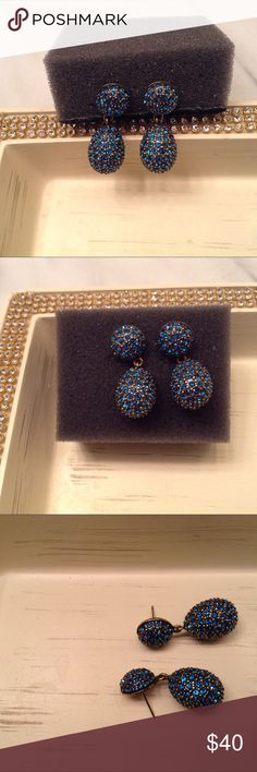 Heidi Daus Pave Crystal Drop Earrings👛👠🎀🎈 Royal Blue (AB)  Outlined in Antique Gold Tone -Pierced Earrings 🎈🎉💝 Heidi Daus Jewelry Earrings