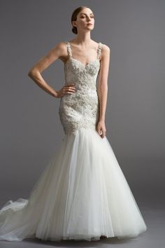 Watters Brides Viena Gown Check out the gorgeous low back! Love this Watters bridal gown! Designer Wedding Gowns, Wedding Dresses For Sale, Wedding Bridesmaid Dresses, Wedding Dress Styles, Bridal Dresses, Designer Dresses, Prom Dresses, Bridal Separates, Mermaid Wedding