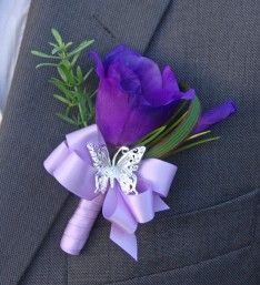Grooms Purple Silk Lisianthus and Silver Butterfly Wedding Day Buttonhole with Lilac Satin Ribbon Stem and Bow