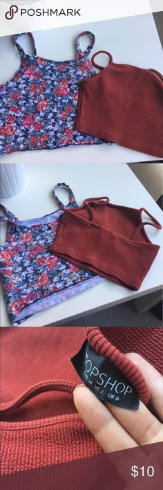 Two Crop Tops Floral one is from Aeropostale & Maroon is from Top Shop. Top Shop Tops Crop Tops