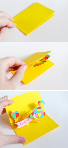 DIY Pop -Up Cards.  These are cute and easy, and who doesn't like pop-up cards?!