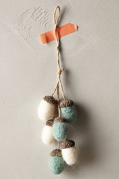 Felted Acorns Ornament -Needle felting is something I love to do, easy peasy