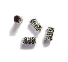 4 drealock swirly argento europeo Perline dread