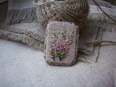Купить Льняная брошь с вышивкой Иван Чай..... - розовый, брошь в подарок, брошь в подарок женщине