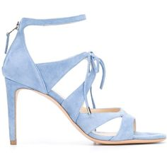 Chloe Gosselin 'Bryonia' sandals ($595) ❤ liked on Polyvore featuring shoes, sandals, blue, genuine leather shoes, leather footwear, blue sandals, blue leather shoes and light blue shoes
