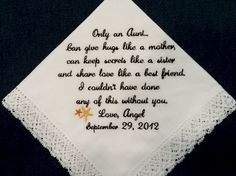 Gift for Aunt of the Bride Personalized Embroidered Wedding Handkerchief on Etsy, $23.00