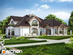 Projekt domu Rezydencja w persymonach 2 - ARCHON+ House Floor Design, Home Design Floor Plans, Modern House Design, Beautiful House Plans, Dream House Plans, Beautiful Homes, Style At Home, Modern Bungalow House, Dome House