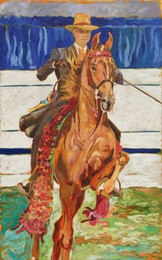 HE'S THE MAN | The American Saddlebred Museum  by Gail Maslyk  Oil on Canvas. Signed and Dated 2006. 48 T x 30 W  RNA  2007 auction