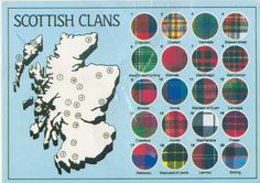 Map of the Scottish clans and their tartans. :)