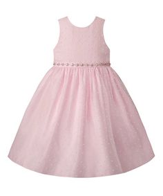 Look what I found on #zulily! Blush Faux Pearl-Accent A-Line Dress - Infant & Toddler #zulilyfinds