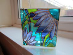 Hand Painted Glass Candle Holder by ASplashofColour1 on Etsy, £15.00