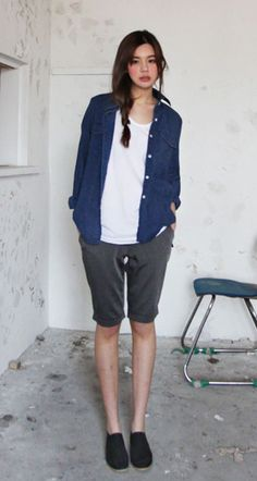 Love the longer length of the shorts with a denim shirt <3