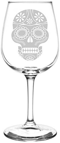 Inverted Multiple Flower | Mexican Sugar Skull Day of The Dead Calavera Inspired - Laser Engraved Libbey Wine Glass.  Full Personalization available!  Fast Free Shipping & 100% Satisfaction Guaranteed.  The Perfect Gift!